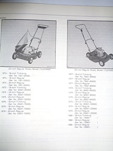 John Deere 18 & 20-Inch Rotary Push Mower Parts Catalog Book Manual Original JD PC-1448