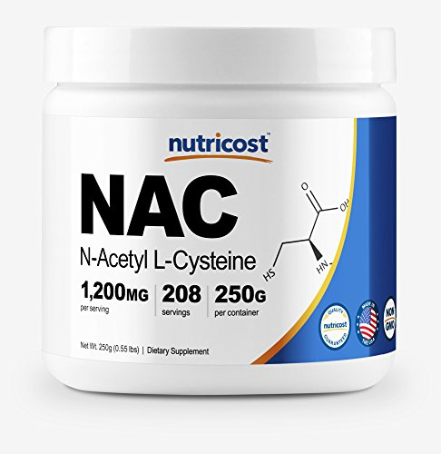 Nutricost N-Acetyl L-Cysteine (NAC) Powder, 250 Grams - Non-GMO, Made in The USA, 208 Servings
