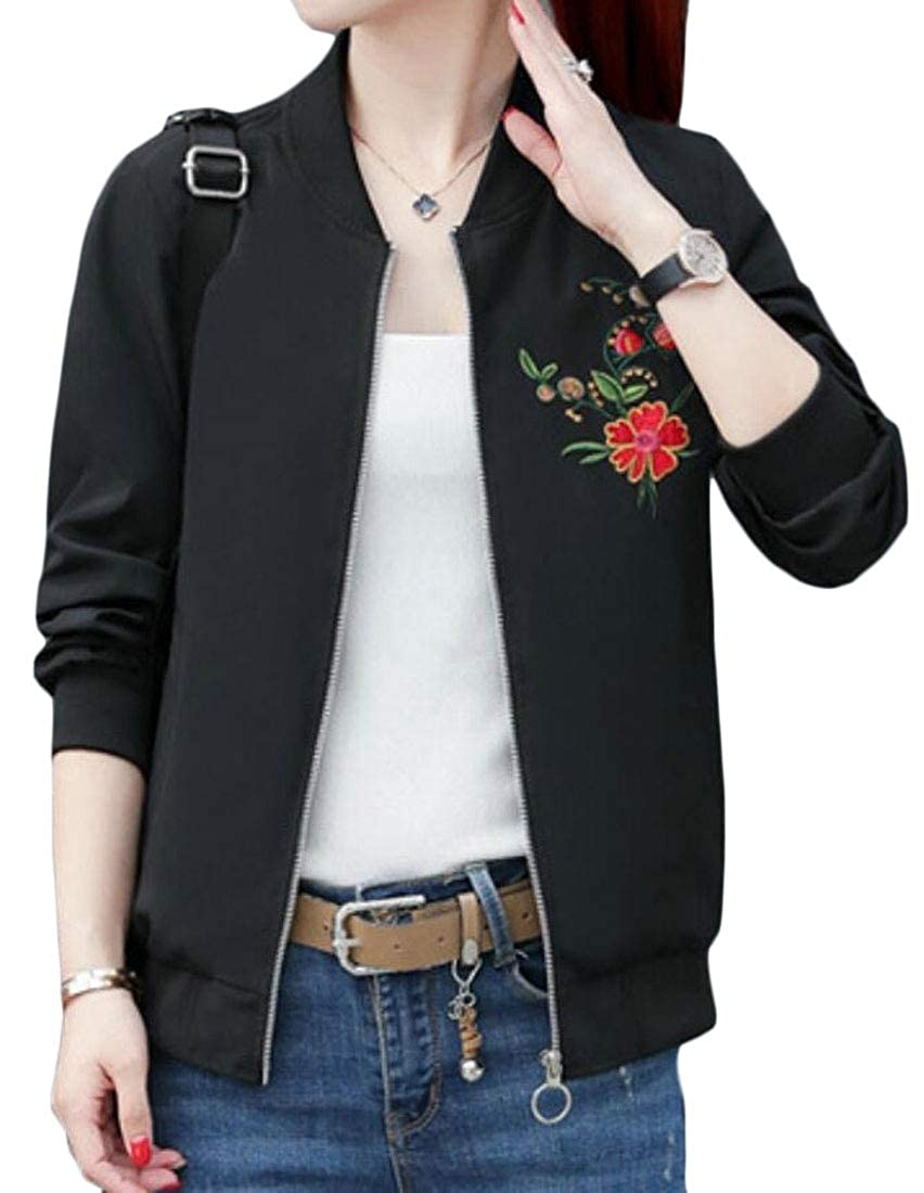 heymoney Womens Casual Embroidered Baseball Jacket Outerwear