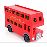Kids Wooden Red Double Decker London Toy Bus and Peg People by Babyhugs