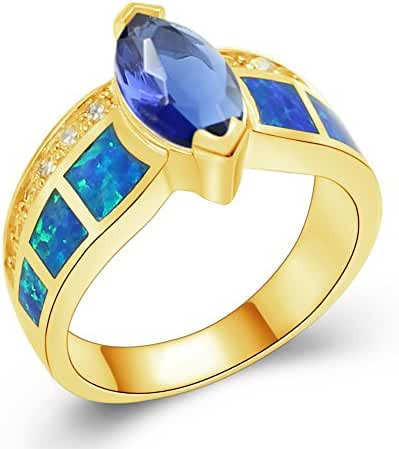 Sinlifu Sterling Silver Created Blue w/ White Opal & Dark Blue Tanzanite Marquise Women Ladies Ring (8, blue-Gold)
