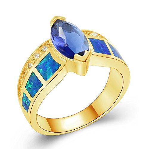 Sinlifu Silver Created Blue w/White Opal & Dark Blue Tanzanite Marquise Women Ladies Ring (6, - Tanzanite Ring Fire Opal