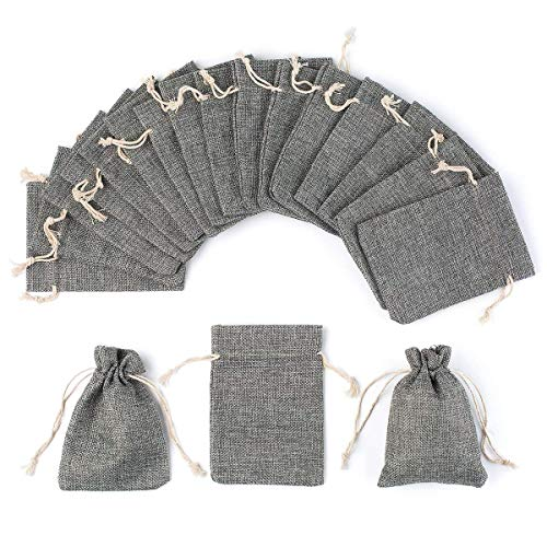- YUXIER 25pcs Burlap Bags with Drawstring Gift Bags Burlap Treat Bags for Wedding, Party,Arts Crafts Projects, Presents,Small Bottles Jewelry,(5.3x3.7inch) (Grey)