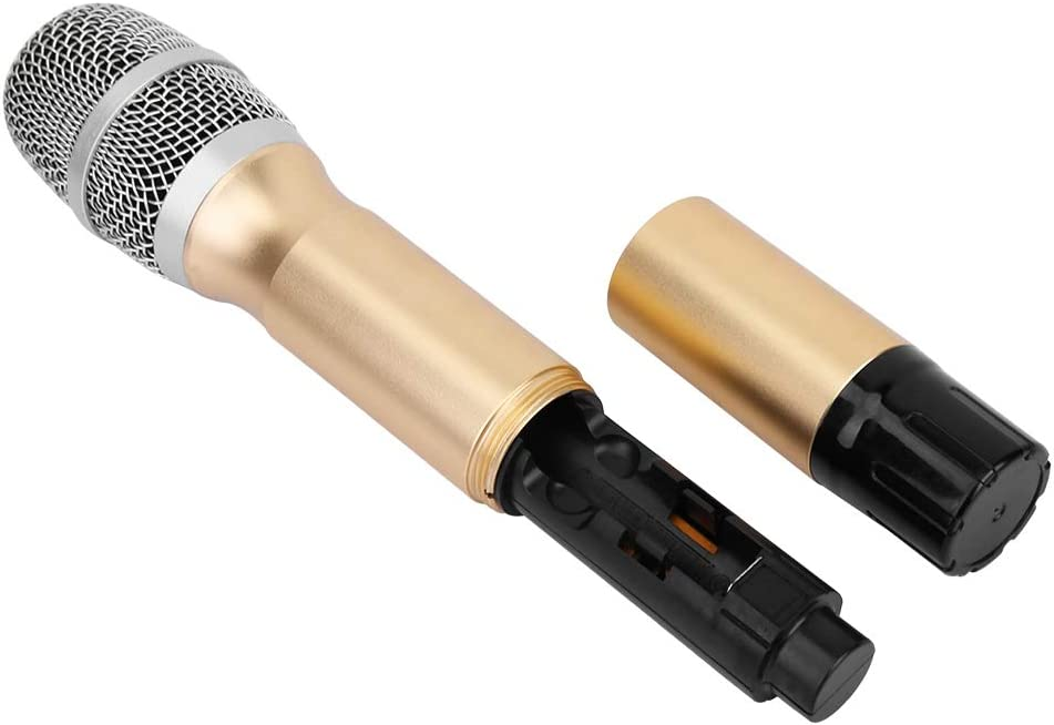 karaok/é Micro sans fil LED portable UHF en m/étal sans fil 25 canaux Syst/ème micro sans fil avec mini r/écepteur pour conf/érence soir/ées de karaok/é et soir/ées maison 2 pi/èces