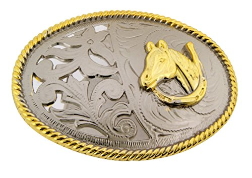 Diesel Buckle Closure Belt (Horseshoe n Horse Head Stallion Pony Club Mare,Belt Buckle for Leather)