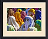 Framed Print of Women in colorful saris gather together, Jhalawar, Rajasthan, India