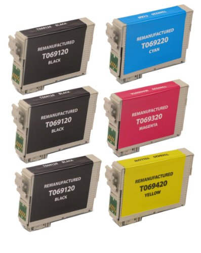 6 Pack Remanufactured Inkjet Cartridges for Epson T069 #69 T069120 T069220 T069320 T069420 Compatible With Epson Stylus C120, Stylus CX5000, Stylus CX6000, Stylus CX7000F, Stylus CX7400, Stylus CX7450, Stylus CX8400, Stylus CX9400 Fax, Stylus CX9475 Fax,