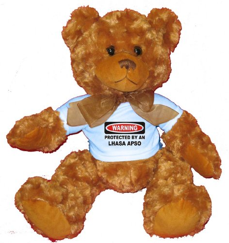 WARNING PROTECTED BY AN LHASA APSO Plush Teddy Bear with BLUE (Warning Lhasa Apso)