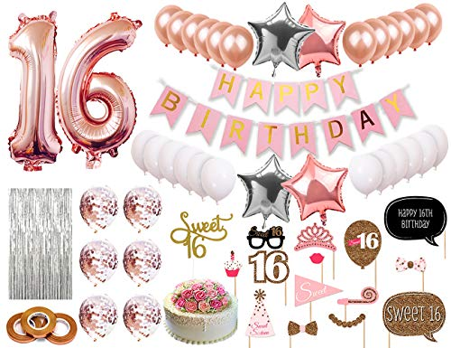 Sweet 16 Party Supplies 16th Birthday Party Decorations Rose Gold Number Balloons, Happy Birthday Banner, Rose Gold Confetti Balloons, Sweet 16 Cake Topper, Photo Booth Props, Metallic Silver Curtain Backdrop, Sweet Sixteen Decorations for Girls ()