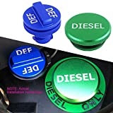 JDMCAR Replacement for Dodge Ram Cummins 2013-2017, Combo Diesel Magnetic Billet Aluminum Fuel Green Cap DEF Blue Cap