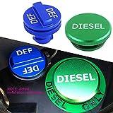 #2: JDMCAR For Dodge Ram Cummins 2013-2017, Combo Diesel Magnetic Billet Aluminum Fuel Green Cap and DEF Blue Cap