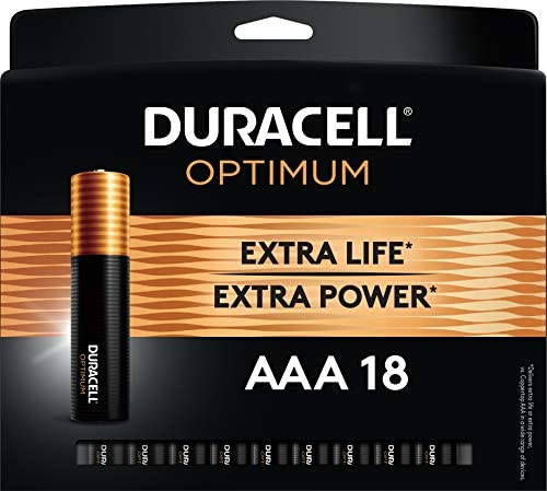 Duracell Optimum AAA Batteries | Lasting Power Triple A Battery | Alkaline AAA Battery Ideal for Household and Office Devices | Resealable Package for Storage, 18 Count (Pack of one)