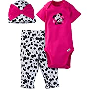 Gerber Baby-Girls Newborn 3 Piece Bodysuit Cap and Legging Set, Dog, Newborn