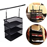 Travelmall 3- Shelf Hanging Closet for Accessory and Clothes Storage mesh Hanging Shelves (black)