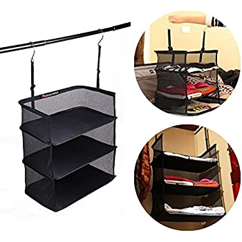 Travelmall 3  Shelf Hanging Closet For Accessory And Clothes Storage Mesh  Hanging Shelves (black
