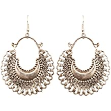 Touchstone Indian Bollywood Bahubali Inspired Chaand Baali Moon Theme Faux Pearls Hangings Designer Jewelry Chandelier Earrings For Women In Oxidized Silver Tone