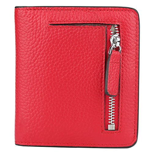 (GDTK RFID Blocking Wallet Women's Small Compact Bi-fold Leather Purse Pocket Wallet (Red))