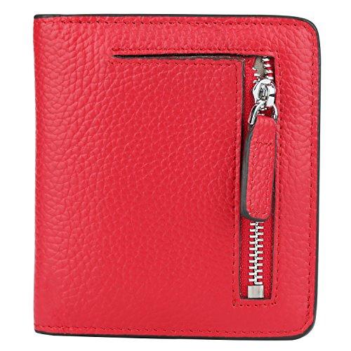 GDTK RFID Blocking Wallet Women's Small Compact Bi-fold Leather Purse Pocket Wallet (Red)