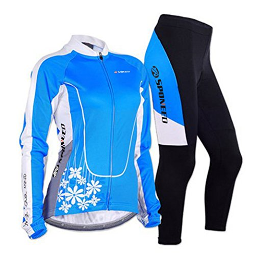 sponeed Women's Cycle Jersey Bike Clothing Gel Padded Long Sleeve Mysteriousness Size XL US Blue