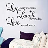 "70*50cm Hot Wall Sticker Butterfly ""Live Love Laugh"" Proverbs Removable Wall Background Home Decoration Art Diy Wall Decals Picture"
