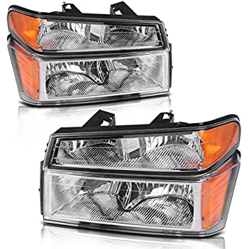 For 2004-2012 Chevy Colorado/Canyon Replacement Headlamps Headlight Assembly Chrome Housing with Amber Reflector Clear Lens + Bumper Lights (Passenger ...
