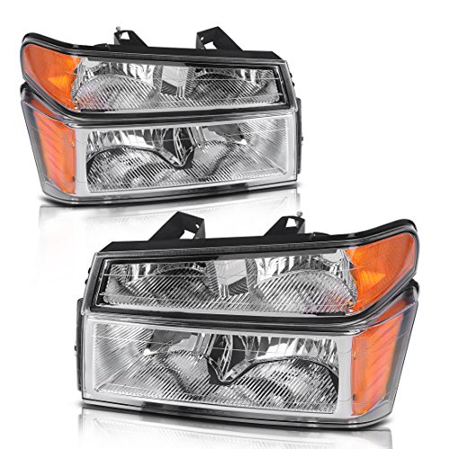 For 2004-2012 Chevy Colorado | GMC Canyon Headlights Replacement Chrome Housing with Amber Reflector + Bumper Lights (Passenger & Driver Side)
