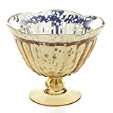 Mercury Glass Compote w/ Pedestal Base, 5.5 in. tall, Scalloped, Gold