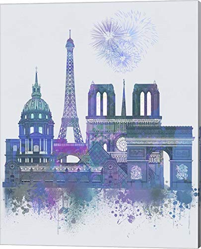Paris Skyline Watercolour Splash Blue by Fab Funky Canvas Art Wall Picture, Gallery Wrap, 16 x 20 inches