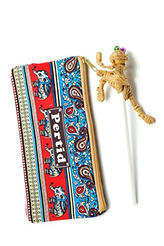 Perdit Crafts Style Striped Canvas Pen Bag Pencil Case Pen Holder Cosmetic Bag Pouch Bag for Women Teen Girls with Stylus And Pancil Made Eichhornia Hit With The Knee Boxing Doll Famous Handicrafts L