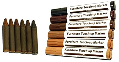 Ram-Pro Furniture Markers Touch Up Repair System - 12Pc Scratch Restore Kit - 6 Felt Tip Wood Markers, 6 Wax Stick Crayons | Colors: Maple, Oak, Cherry, Walnut, Mahogany, Black