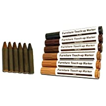 RamPro Total Furniture Repair System - 12Pc Scratch Restore & Repair Touch-Up Kit - Felt Tip Markers, Wax Stick Crayons