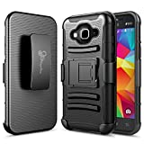 J1 2016 Case, Galaxy Amp 2 Case, Galaxy Express 3 Case, Nagebee - High Impact Resistant Black Dual Layer Armor Holster With Locking Belt Clip Case for Samsung 2016 Release (Black)