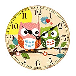 SkyNature Wooden Wall Clock, 14 Inch Large Art Hanging Clock, Silent Non-Ticking, Great for Decorate Kids Bedroom, Living Room, Dining Room, Kitchen - Owl Family