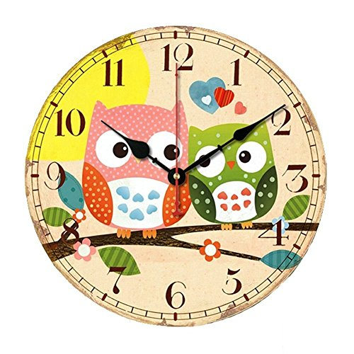 SkyNature Wooden Wall Clock, 14 Inch Large Art Hanging Clock, Silent Non-Ticking, Great for Decorate Kids Bedroom, Living Room, Dining Room, Kitchen - Owl -