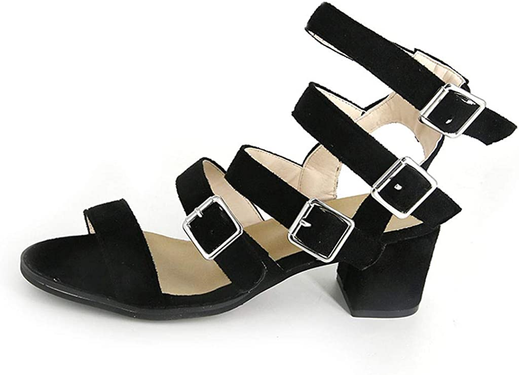 GIANTHONG Womens Dress Sandal Womens Open Toe Buckle Wooden Low Chunky Heel Sandals Cut Out Shoes