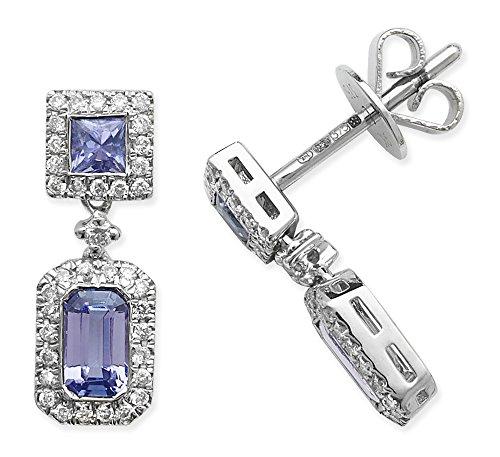 Diamant 0.20ct et tanzanite 0,83-Boucles d'Oreilles Pendantes Femme-Or blanc 9carats