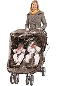Comfy Baby Rain Cover Custom Designed to Fit the City Mini GT Double Stroller, Perforated Air Vents For Air Circulation, Reinforced Side and Bottom Velcro for a Snug Fit.(Newly Designed)