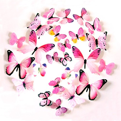 Nature Inspired Plastic Butterfly Decorative Wall Decals,Wall Sticker Decals for Room Home Nursery Décor - Set Of 2,Pink by Euter
