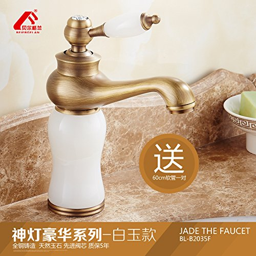 6 LHbox Antique faucets continental basin of hot and cold Green Jade Marble Sinks Faucets full copper Washbasin Faucet, God is the classic antique series coffee-ok)