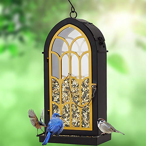 Rotot Archway Bird Feeder, Yellow Metal Perches with 2.75 Pounds Seed Capacity - Nature Friendly