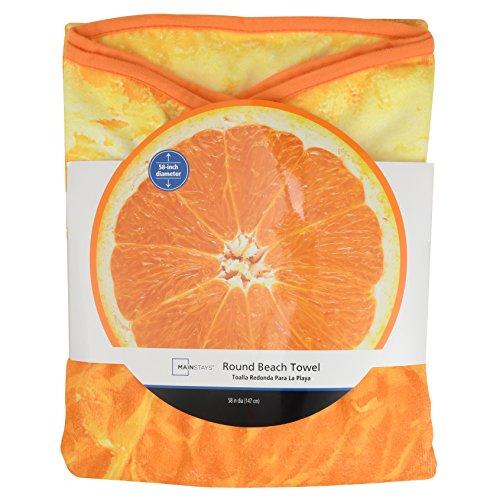 Wal-Mart Mainstays Round Beach Towel Orange Fruit 58