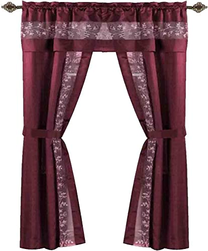Sophisticated Rich Floral Embroidered Silk Feel 5 Piece Curtain Set Burgundy, 55 x 84