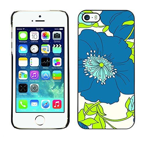 TopCaseStore / caoutchouc Hard Case Housse de protection la Peau - Green Flower Floral White Drawing - Apple iPhone 5 / 5S