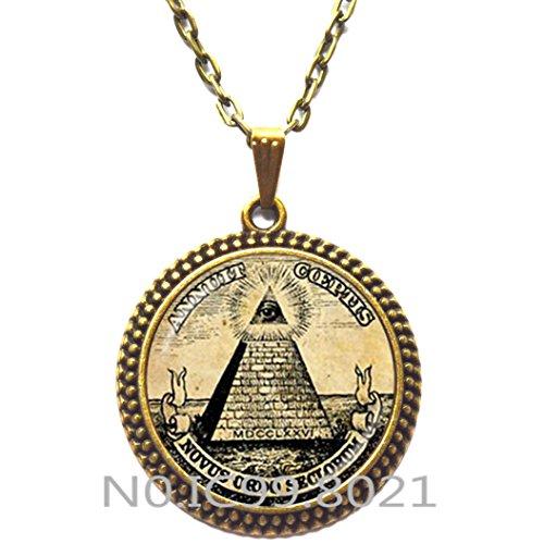 FashionNecklaceFashionPendant,Annuit Coeptis Pendant Egypt Pyramid Necklace Eye of Providence Masonic Illuminati Masonic Sign Sacred Geometry -