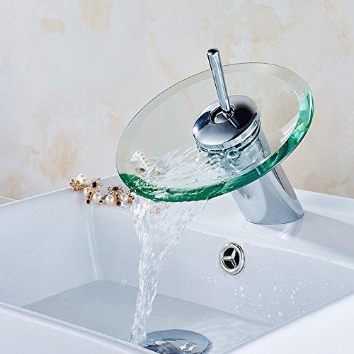 Jiedoasi Moderne Stil Küche Badezimmer Schiff Kupfer Glas Runde Wasserfall Badewanne Waschbecken Wasserhahn