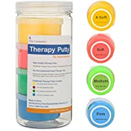Premium Quality Therapy Putty (4 Pack, 3-oz Each) for Hand Exercise: Variable Resistance Containers for Rehab Therapy and Stress Relief by Thera FlintRehab