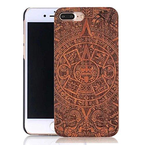 Vandot Funda de Madera natural con Diseño estampado elefante para el iPhone 7 Plus, Azteca Tribal Madera Cubierta Caja de PC Premium Trasera Dura Contraportada Lujo Caso hecho a mano Carcasa Protector Wood 07