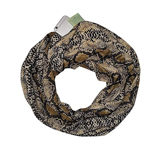 Women Modern Printed Convertible Infinity Scarf with Pocket, Witspace Winter Warm Pocket Loop Scarves-30X180cm (B Snake)