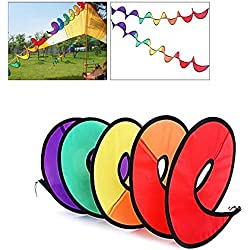 OutFans Rainbow Wind Spinner, Rainbow Curlie Spinner - 43 Inch Colorful Hanging Rainbow Wind Twister for Yard or Outdoor Camping Decoration