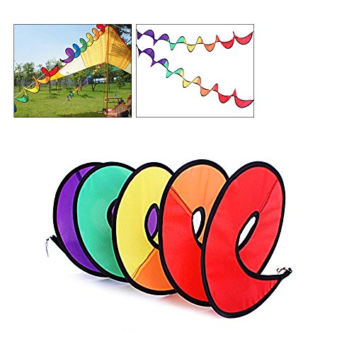 OutFans Rainbow Wind Spinner, Rainbow Curlie Spinner - 43 Inch Colorful Hanging Rainbow Wind Twister for Yard or Outdoor Camping Decoration (Rainbow Wind Spinner)
